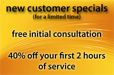 free initial consultation and 40 percent discount for new customers